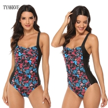 2019 Sexy New One Piece Swimsuit Plus Size Swimwear Women Ruched Tummy Control Bathing Suits Beachwear Backless Swim S~2XL