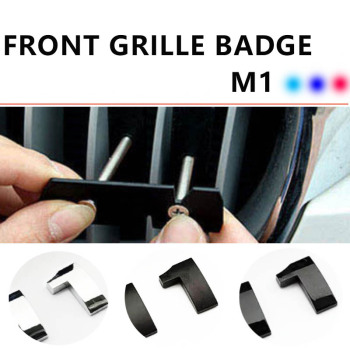 Car Styling Front Grille Slot Badge Vent Bracket M Color Car Stickers For M1 116i 118i 120i 125i 140i Matt Black/Silver badge image