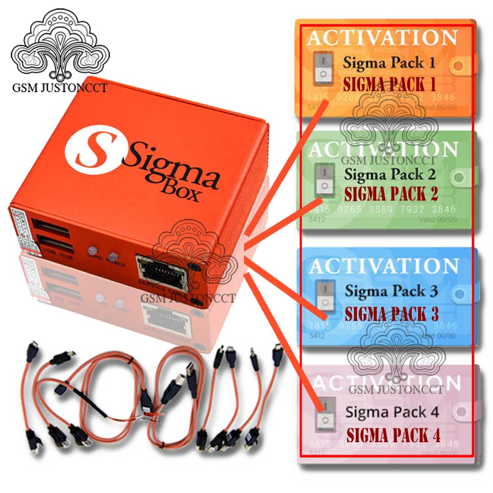Sigma Box With 9 Cable Set + Sigma Pack 1, 2, 3 ,4 ,Activations For Mobile Phone Unlock&Flash&Repairing For China Mobile Phone