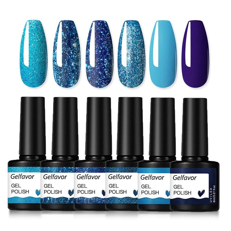 Gelfavor Gel Nail Polish Set Hybrid Varnishes 4/6Pcs Base Top For Nails UV LED Lamp Gel  Kits Manicure Nails Gel Polish Set 21