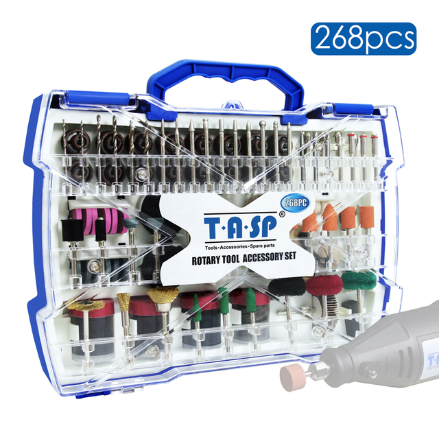 "268pcs Electric Mini Drill Bit Kit Abrasive Rotary Tool Accessories Set for Dremel Grinding Sanding Polishing Cutting 1/8"" Shank"