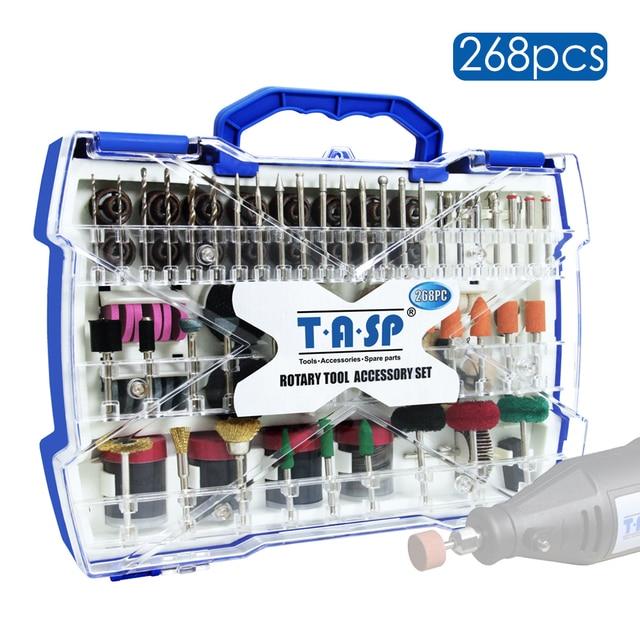 268pcs Electric Mini Drill Bit Kit Abrasive Rotary Tool Accessories Set for Dremel Sanding Polishing Cutting Engraving Tool Head