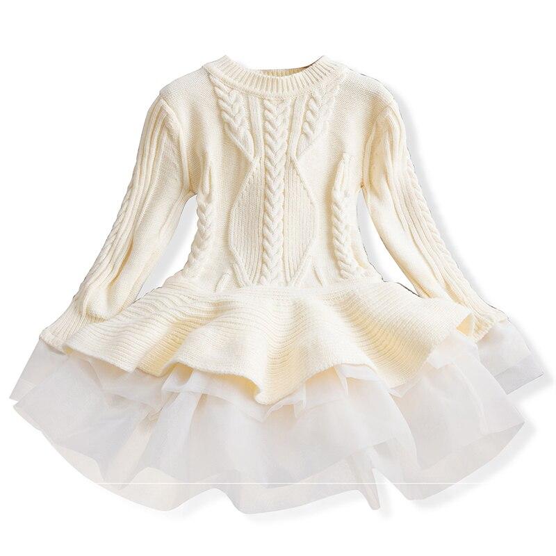 Xmas Winter Autumn Girl Dress Children Clothes Kids Dresses For Girls Party Dress Long Sleeve Knitted Sweater Toddler Girl Dress 5