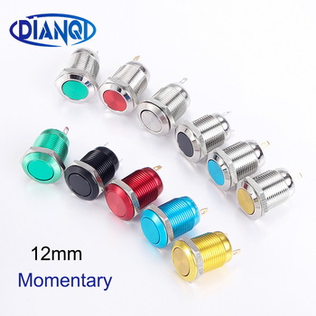12mm Metal Push Button Switch Flat Round Ring 3A Self-reset Momentary Waterproof Car Start Horn Eng Speaker Bell Automatic Reset 4pcs set black red green yellow 12mm mini round waterproof lockless momentary push button switch