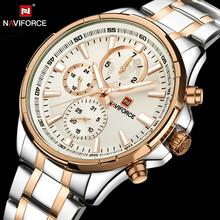 цена на NAVIFORCE Classic Dress Watch Men Waterproof Chronograph Quartz Watches Stainless Steel Strap Luxury Brand Relogio Masculino