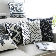 Simple Modern Pillow Cover Black And White Geometry Cotton Linen Printing Throw Cushion Sofa Bay Window Home Decoration