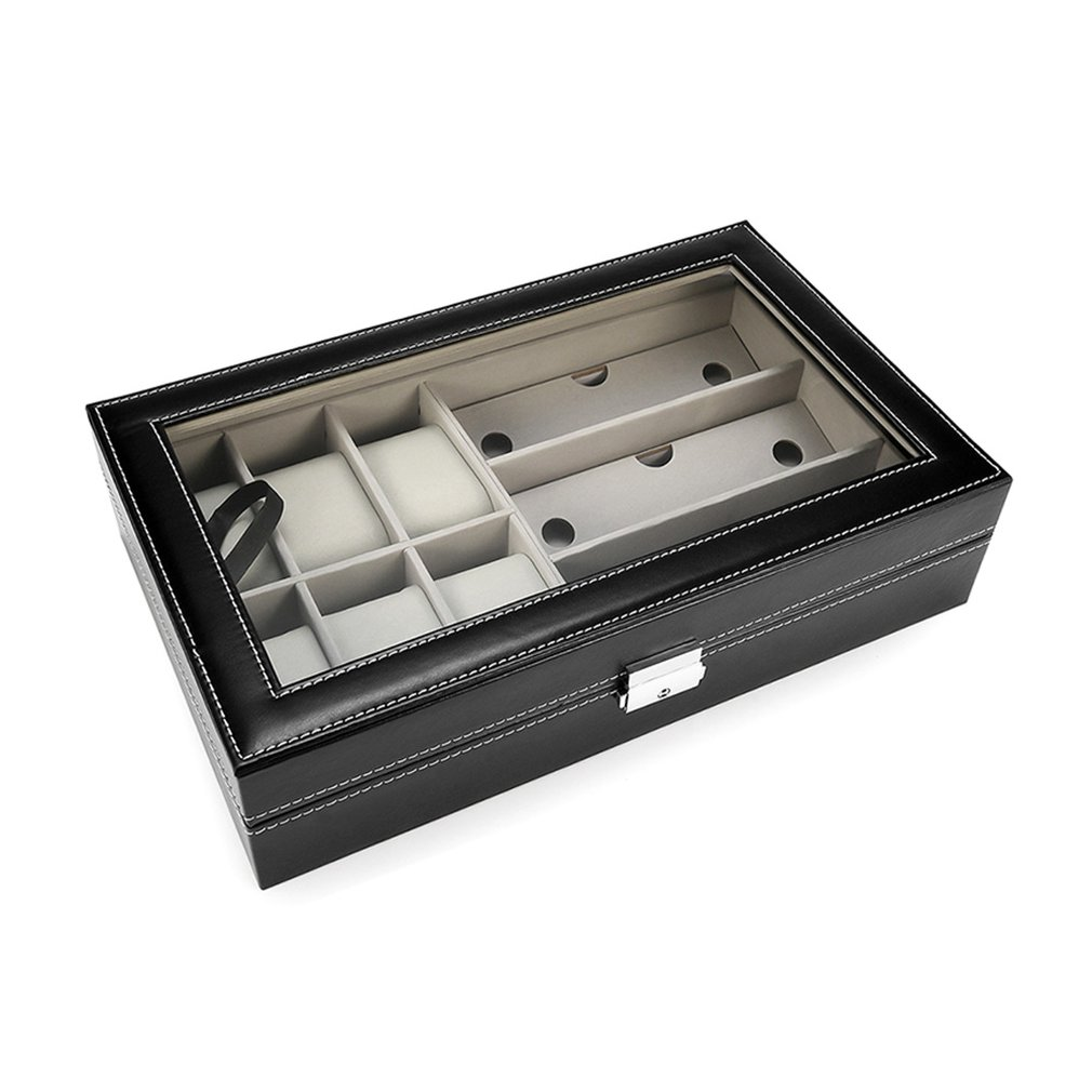 Multifunctional Watch Display Storage Box Glasses Organizer Watch Showcase Tray Box With Flip Cover 65291021A