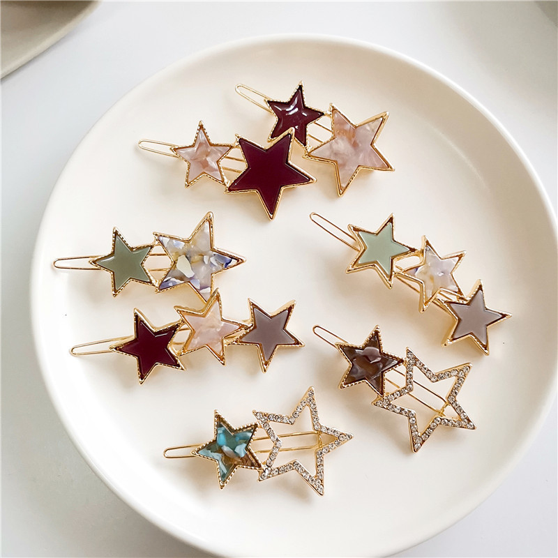 Fashion Women Hair Accessories Simple Star Circle Hair Clips Korean Alloy Barrettes Girls Cute Hairgrips Women Metal Hairpins