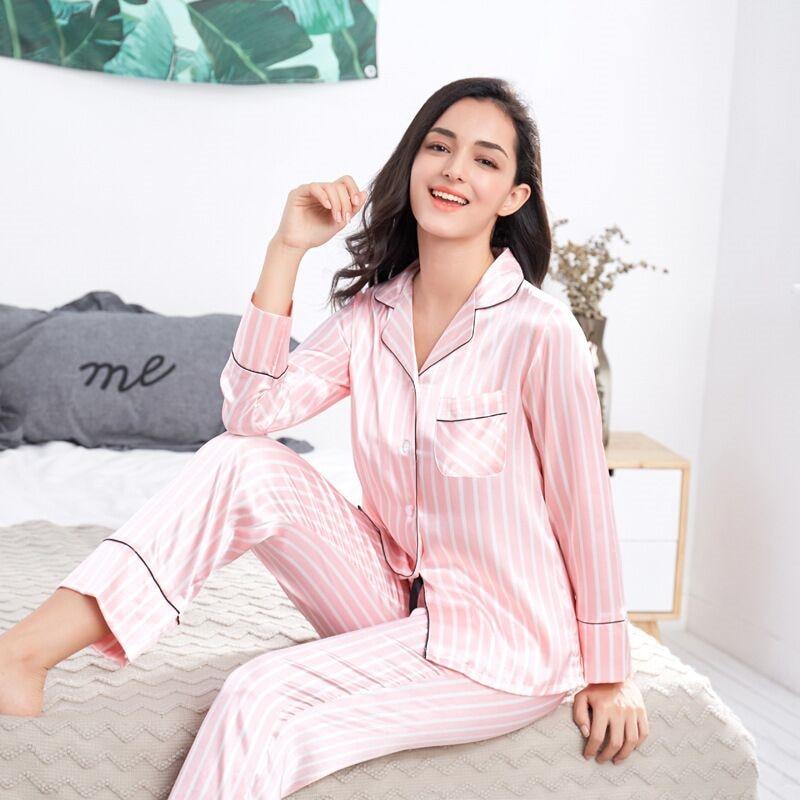 2020 Summer Women's Pajamas Sets Pink Striped Female Silk Two Pieces Shirts+Pants Nighties Sleepwear Satin Pyjamas Plus Size 3XL