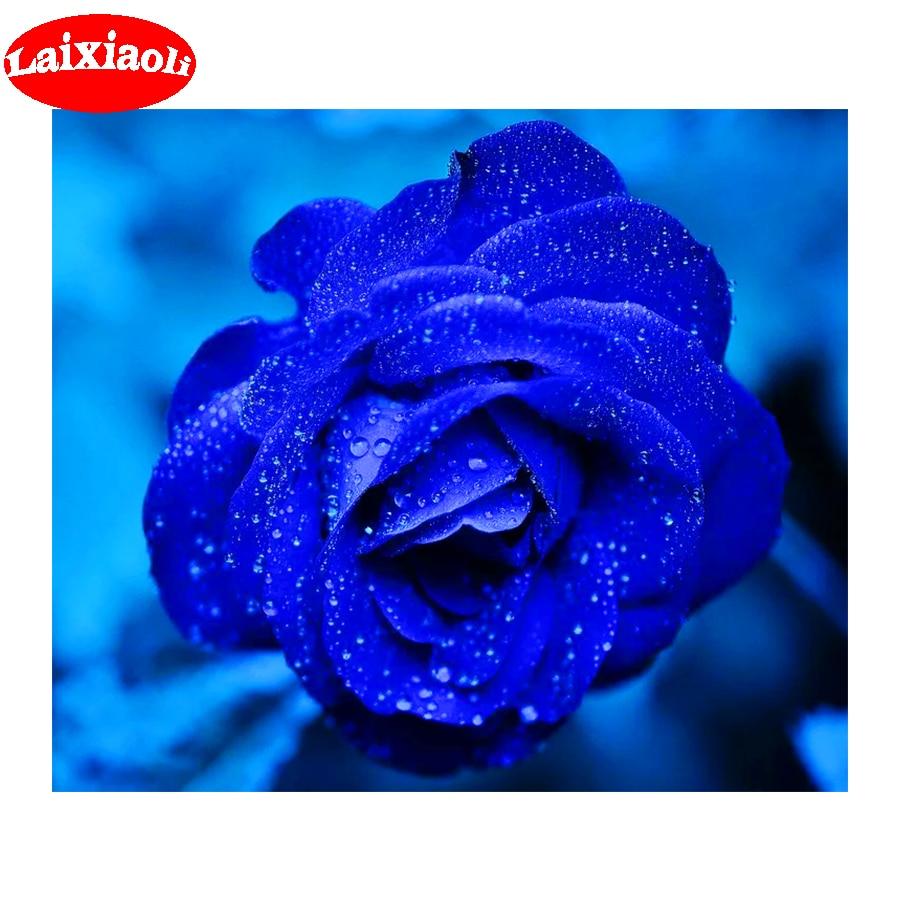 5d Lukisan Berlian Blue Rose Wallpaper Diamond Cross Stitch DIY Mosaik Lukisan Berlian Diamond Bordir Penuh