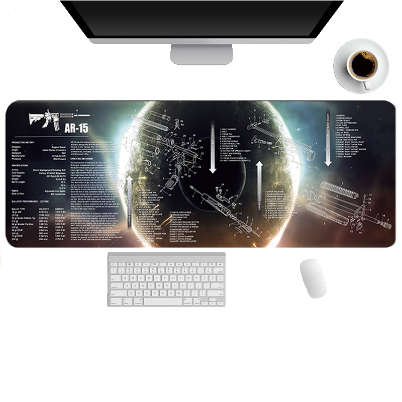 Guns Enthusiasts Natural Rubber Mouse-pad AR-15 Waterproof Game Desk Pad Mouse mat Soft Radiation Decorate Computer Mousepad(China)
