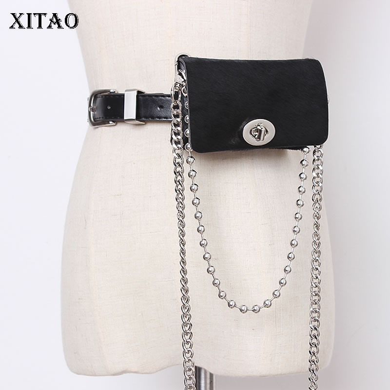 XITAO Leather Accessories Women Fashion New Womens Wide Belts Streetwear Belt Bag Trend Wild Girdle Removable Pouch GCC3108