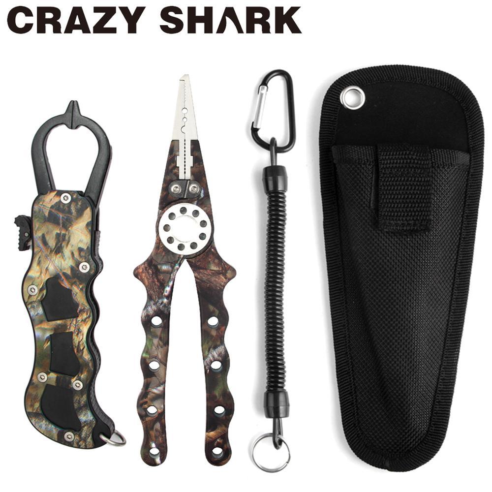 CrazyShark Camo Aluminum Alloy Fishing Pliers Fish Lip Grip Set Cutter Line Remove Hook Split Ring Carp Fish Goods For Fishing