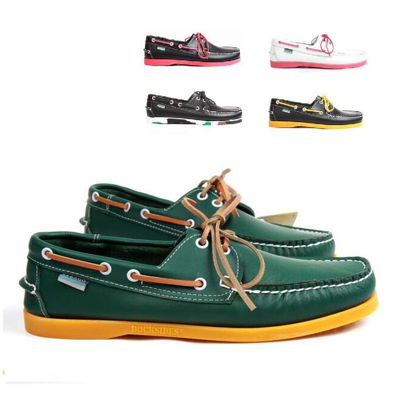 Boat Shoe Flats-Loafers Driving-Shoes Classic Docksides Design Genuine-Leather Brand title=