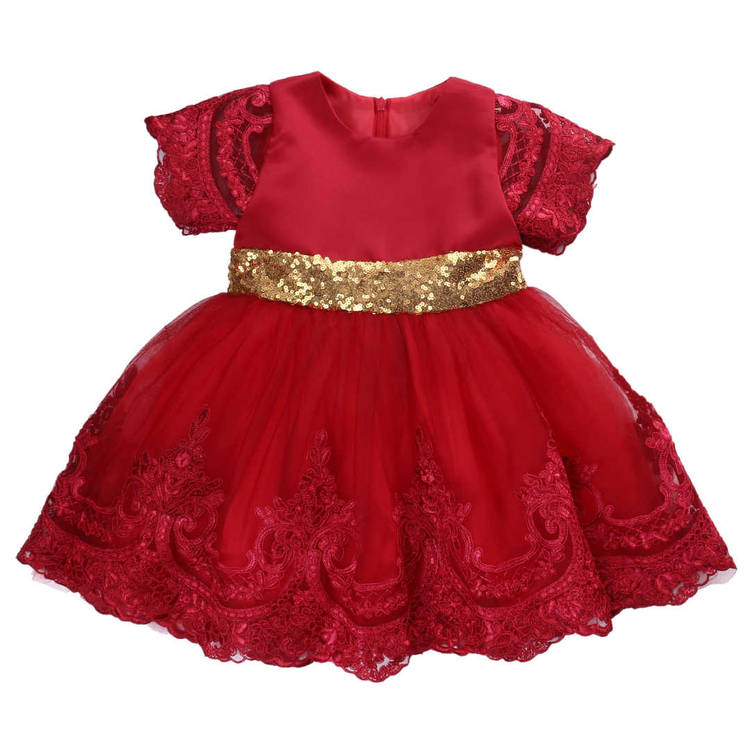 Emmababy Baby girl clothes Princess Dress Clothes Short Sleeve Lace Bow Ball Gown Tutu Party Dress Toddler Kids Fancy Dress 0-7Y