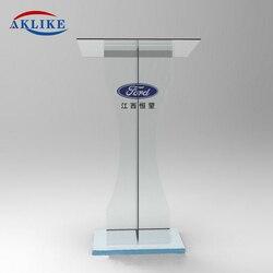 Custom Event Podium Sign AKLIKE Modern Acrylic Podiums Plexiglass Pulpit School Church Business ConferenceReception Desk