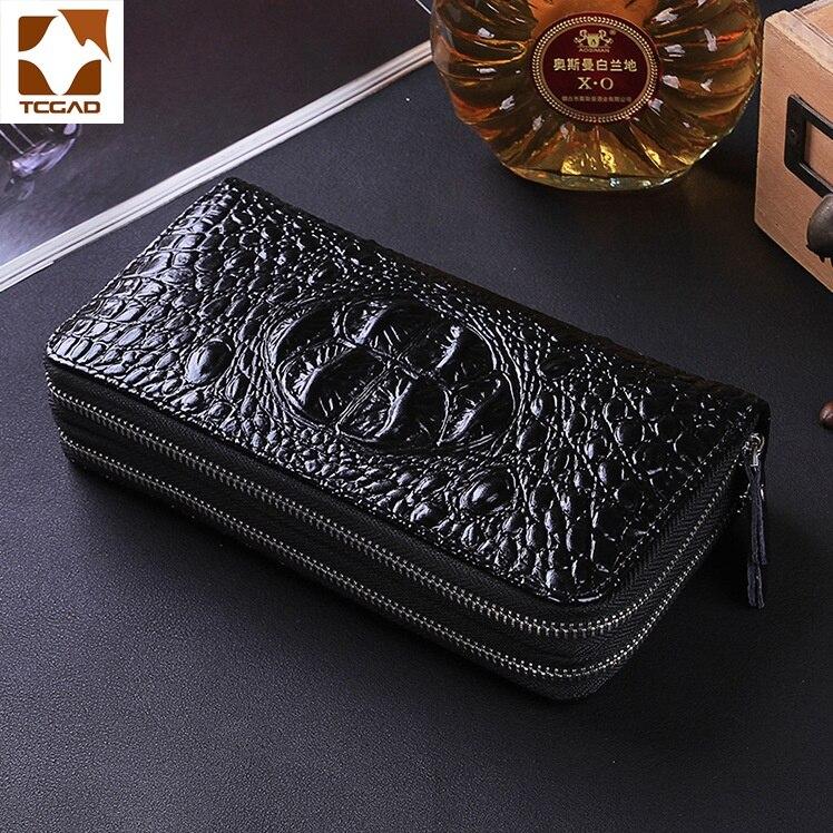 Men's Wallet Alligator Double Zipper Top Clutch Luxury 100% Leather Male Wallets England Style Men Portefeuille Homme Money Bag