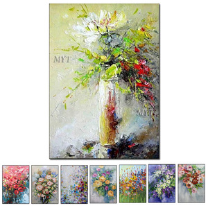 Image 1 - Texture Thick Vase Flower Handmade Oil Painting Canvas Wall Art Oil Paintings Canvas Knife Art Home Decoration Wall Pictures