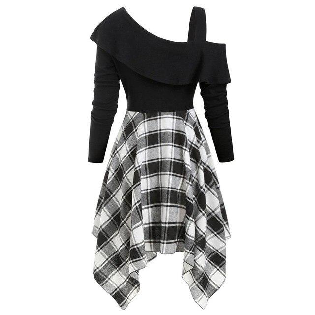 Women Sexy High Waist Asymmetric Gothic Plaid Mini Dress Preppy Casual Female Elegant Goth Punk Short Party Dresses Vestido #T2Q 3