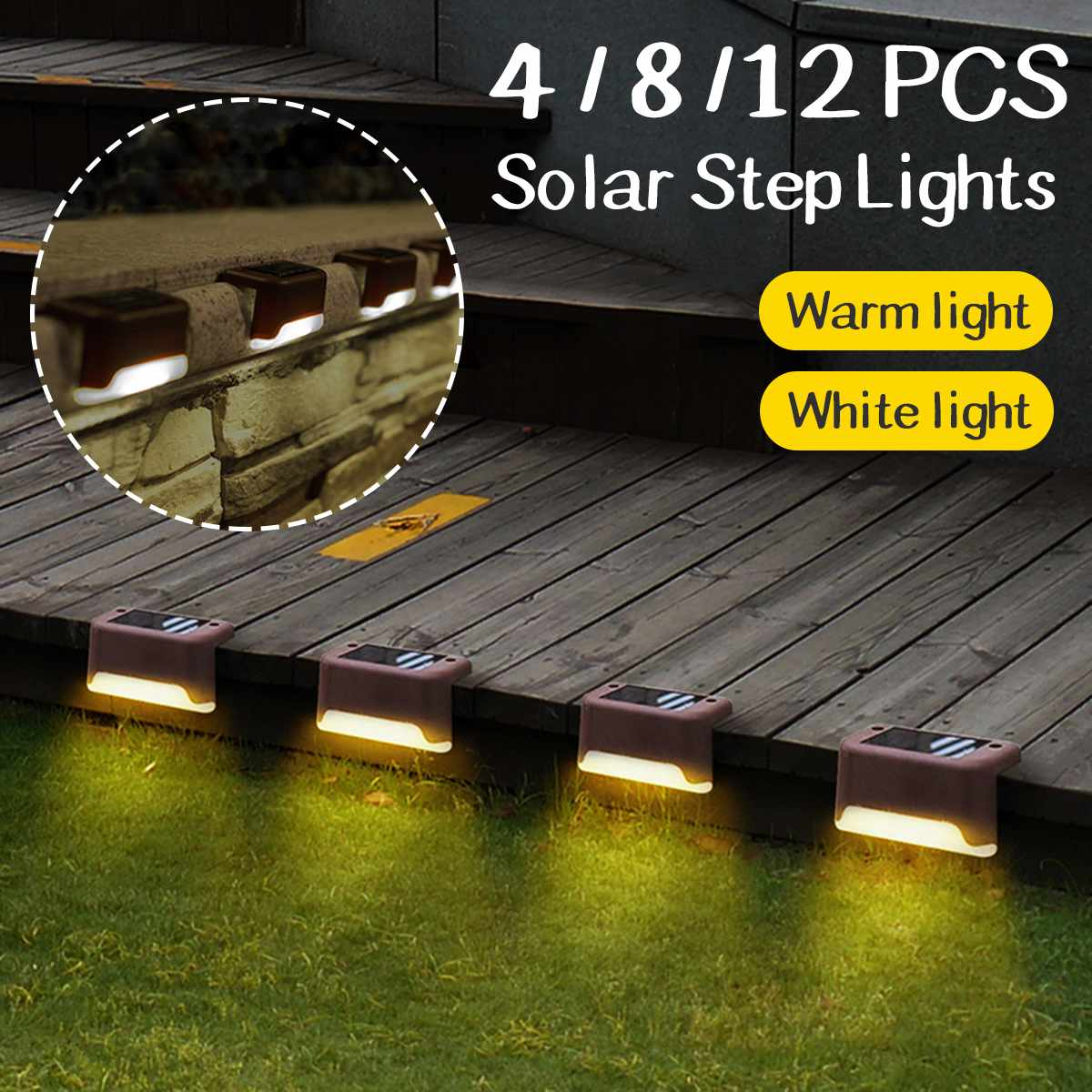 4/8/12PCS LED Solar Lights Path Stair Outdoor IP55 Waterproof Light Garden Landscape Step Stair Deck Lights Balcony Fence Lamps