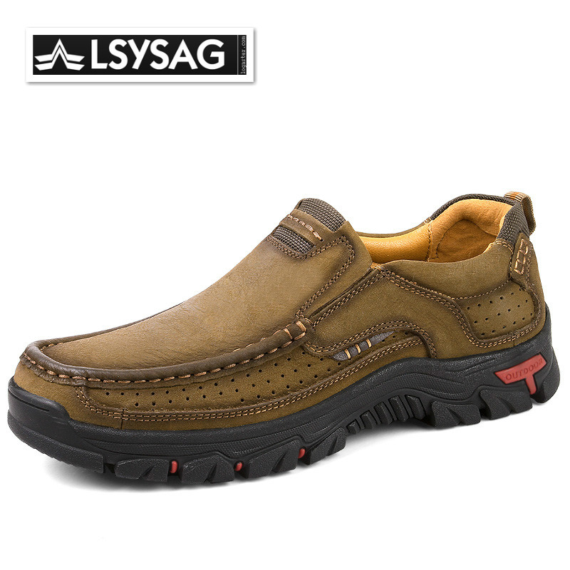 Shoes Men High Quality Genuine Leather Shoes Outdoor Non-slip Casual Shoes Male Driving Footwear Comfortable Trekking Sneakers