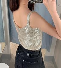 New Sexy Mini Vest Top For Women Summer Party Ladies Elastic Spaghetti Belt Bottoming Tops Joker Sexy V-neck Sequins Camisole все цены