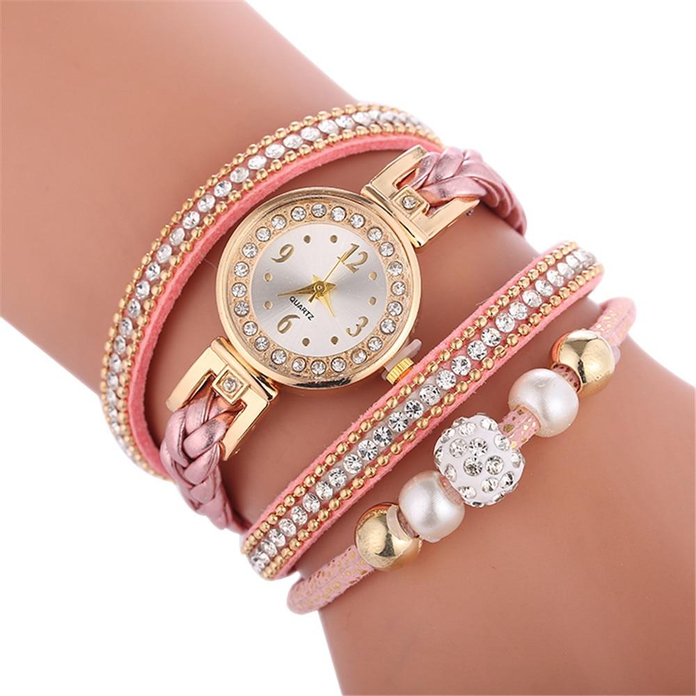 Women Round Full Diamond Bracelet Watch Analog Quartz Movement Wrist Watch Luxury Brand Women Watches Personality femme часы