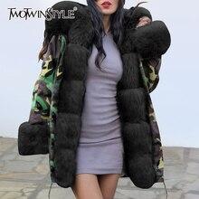 ファッション新 パッチワーク女性のダウン綿のコート長袖カラー冬フード付きの厚手のジャケット女性 TWOTWINSTYLE 2019