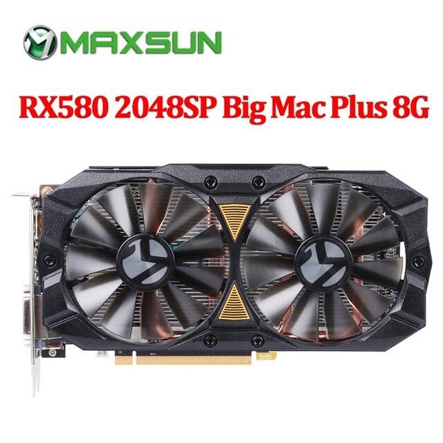 Carte graphique MAXSUN rx 580 2048SP grand Mac plus 8G amd GDDR5 256bit 7000MHz 1168MHz PCI Express X16 3.0 14nm rx580 carte vidéo
