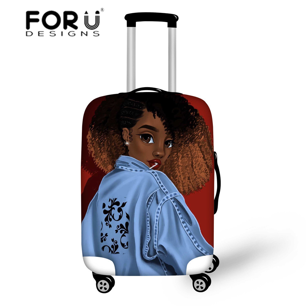 FORUDESIGNS Women Travel Luggage Covers For Suitcase Black Art Afro Lady Girls Elastic Baggage Cover 18-30 Inch Protective Cover