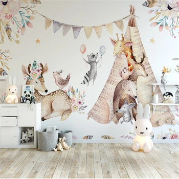Milofi professional 3D large wallpaper mural Nordic modern minimalist hand-painted cute animal children's room background wall недорого