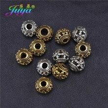 Juya DIY kamienie naturalne Beadwork elementy do wyrobu biżuterii 8mm 10mm Hollow antyczne złoty kwiat paciorki 20 sztuk hurtownie