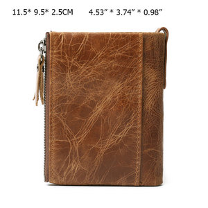 Image 2 - RFID Protected Free Engraving Genuine Leather Men Wallet Card Holders Wallets Double Zippers Coin Wallet Men Leather Short Purse