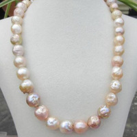 GORGEOUS Natural multicolour SOUTH SEA 12mm Kasumi Pearl Necklace 925silver 18INCH jj