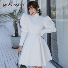 Twotwinstyle vestidos elegantes para mulheres, decote alto, manga bufante, cintura alta, babados, vestido slim, roupa feminina 2020