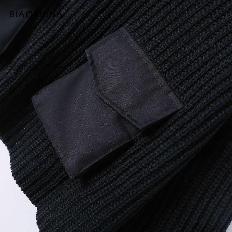 Biaoruina 여성용 블랙 캐주얼 짧은 니트 터틀넥 스웨터 패치 워크 포켓 여성 패션 오버 사이즈 하이 웨스트 풀오버