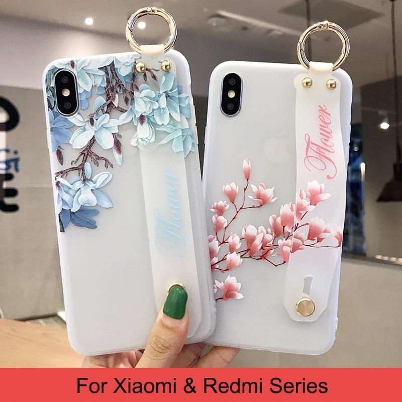 Цветок из мягкого силикона с рисунком ремешок чехол для телефона для Xiaomi 9 8 CC9 6X 5X A3 Lite Redmi K20 Pro 4X Note 7 6 5 5A Стенд кожаный чехол