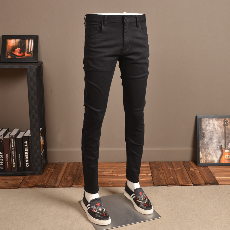 Fashion Mens Skinny Jeans Elastic Thin Streetwear Black Jean Pants For Cowboys Men