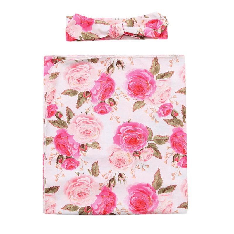 Floral Swaddle with Headband -Jasmini