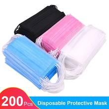 Em estoque 10/200 pces máscara facial descartável preto nonwove 3 camadas máscara boca filtro anti poeira respirável máscaras protetoras adultas
