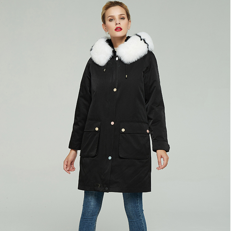Parka Real Fur Coat Female Natural Rex Rabbit Fur Liner Long Coat 2020 Winter Jacket Women Fox Fur Collar Warm Parkas 968 image