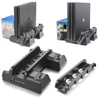 Soporte Vertical para PS4/PS4 Slim/PS4 PRO, con ventilador de refrigeración, cargador doble para mandos, estación de carga para SONY Playstation 4 PS4
