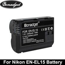 Bonadget EN-EL15 ENEL15 Rechargeable Digital Battery En-EL15A ENEL15 2000mAh Camera Battery For Nikon D500 D750 D800 D7100 D7000 eachshot mb d17 replacement battery grip for nikon d500 digital slr cameras en el15 battery as the mk d500 battery grip