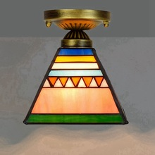 Tiffany lamp Ou  6 inches 15 cm tiffany stained glass art lamp corridor corridor balcony small dome light pyramid цена 2017