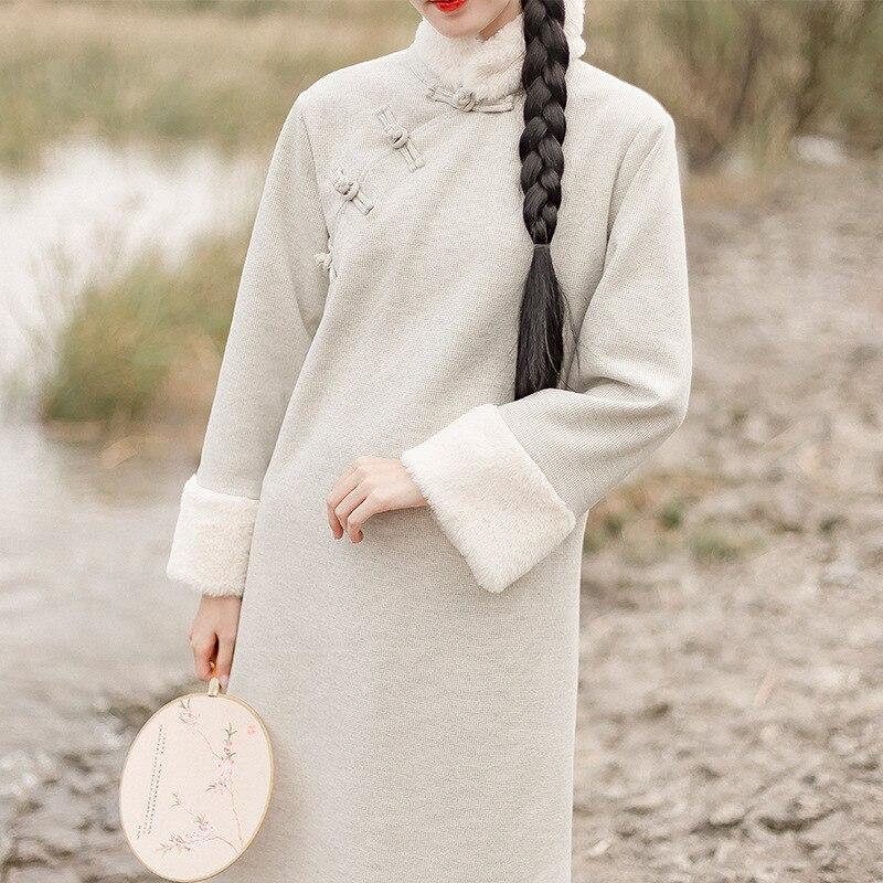 2020 Chinese Dress Women Chinese Style Full Sleeve Dress Jacquard Rabbit Hair Warm Dresses Elegant Lady Qipao Party Dress