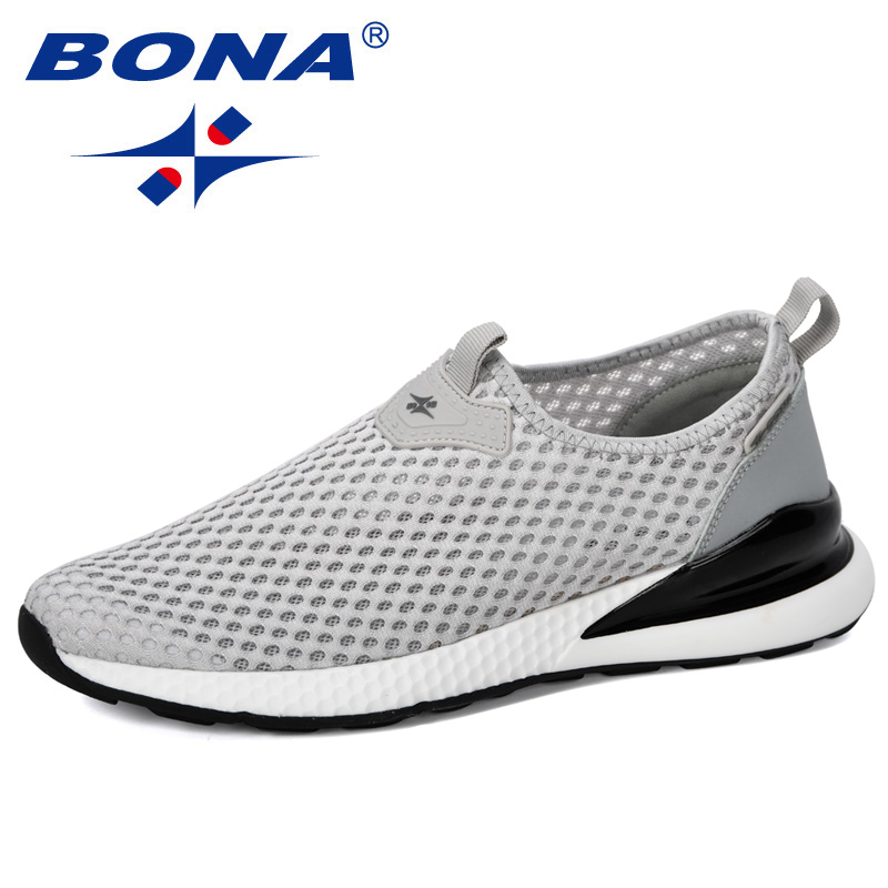 BONA 2019 New Designer Breathable Slip On Men Mesh Shoes Fashion Casual No-slip Men Vulcanize Shoes Tenis Masculino Comfortable