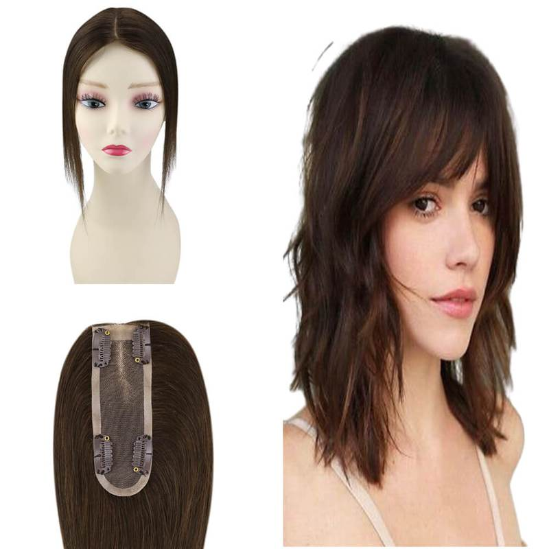 Human Hair Topper for Women Machine Remy Clip in Hair Brown Toppers Wig 6.5*2.25inhces 8inches Brazilian Hair Natural Straight