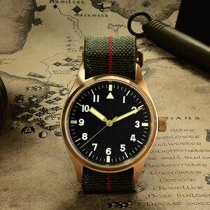 Image 2 - San Martin Pilot Military Watch Bronze Men Wristwatch Nylon Elastic Strap  Sapphire Water Resistant 200M Luminous часы мужские