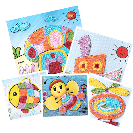 DIY Paper Rope Painting Paste Picture Children's Handmade Material Package Puzzle 3D Sticker Toys Kindergarten Manual Toys 5PCS