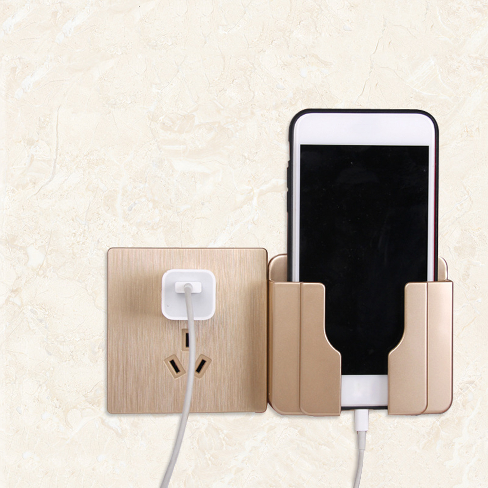 Universal Practical Wall Mounted Phone Holder Socket Multifunctional Stand Adhesive Mobile Phone Charge Sopport Rack Shelf